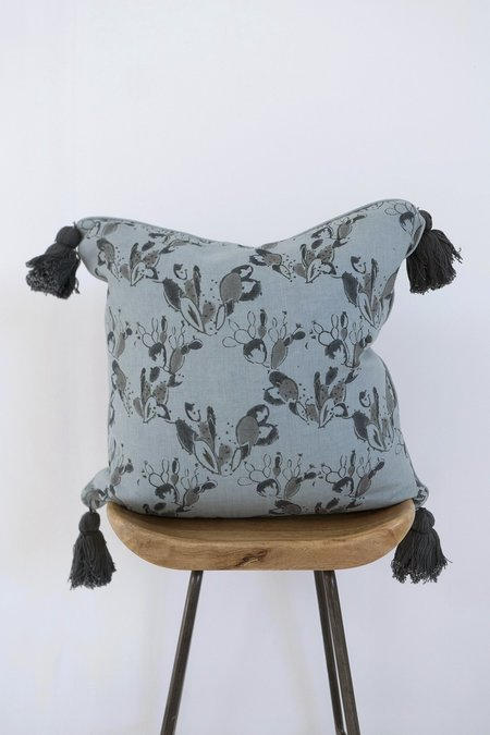 Karu Prickly Pear Linen Tassel Cushion - Blue