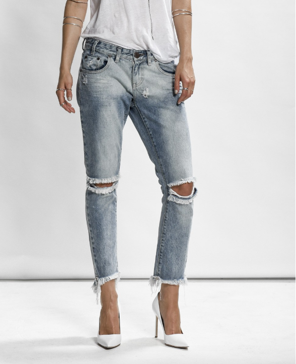 ONE TEASPOON Freebirds Distress Jeans- Blue Blossom
