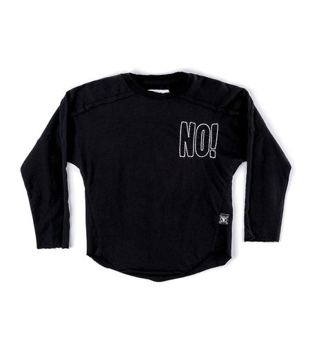 Kids Nununu Embroidered No! Hemmed Shirt - Black