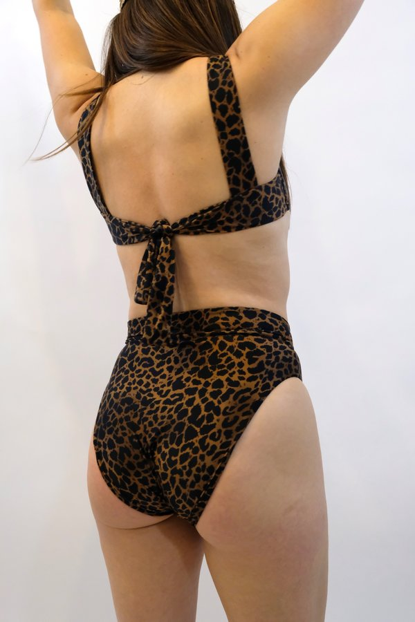 SIDWAY The Susan Square Neck Bikini Top - Animalia Leopard Print