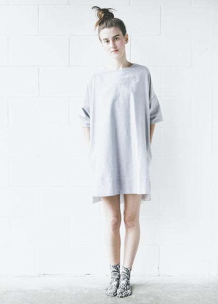 The Sleep Shirt Smock Nightshirt in Charcoal Chambray