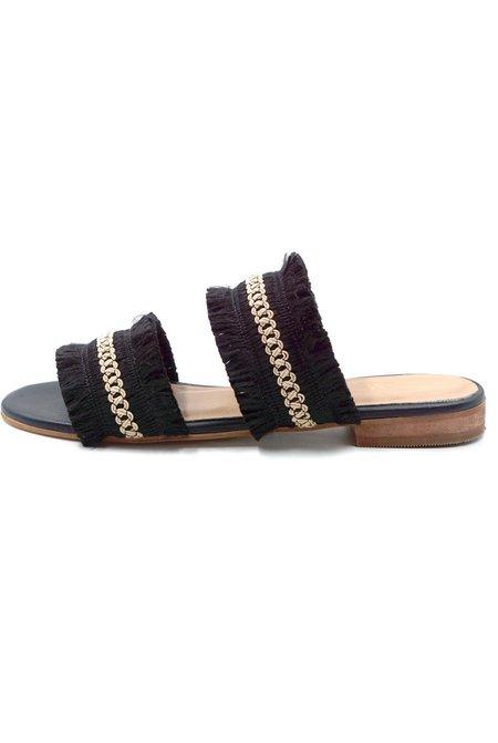 KAANAS Yassica Frayed Sandal - Black