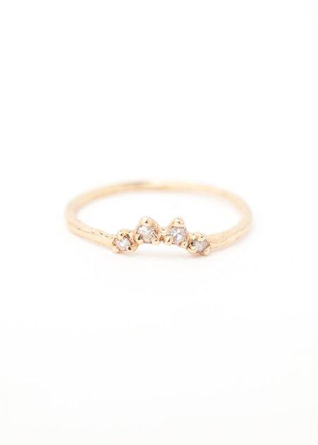 Valley Rose Regina Halo Stacker Ring - Yellow Gold/White Sapphire