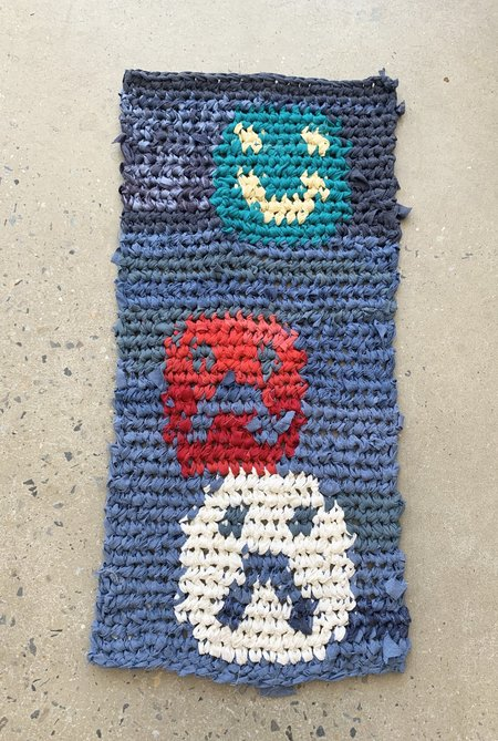 Brave Hand Textiles Crochet Rug - Blue Optimist