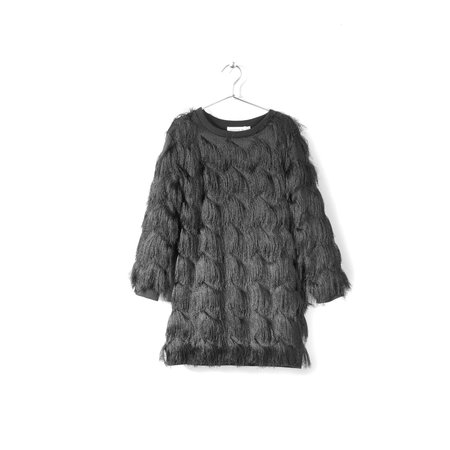 KIDS andorine fringed dress - black