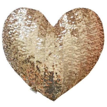 atsuyo et akiko heart sequins cushion - gold