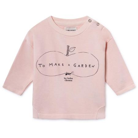 kids bobo choses ant and apple round neck sweatshirt - light pink