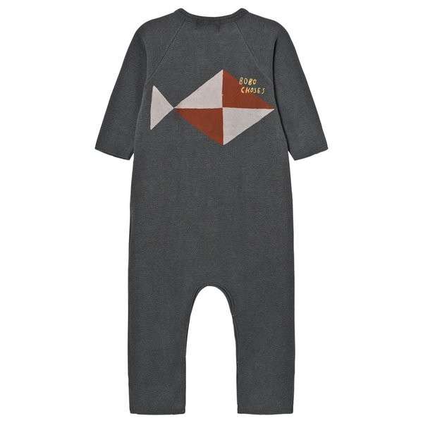 kids bobo choses fleece jumpsuit fish - vintage grey