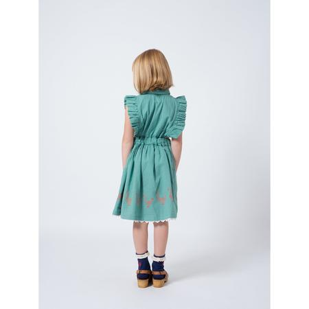kids bobo choses geese ruffles dress - green