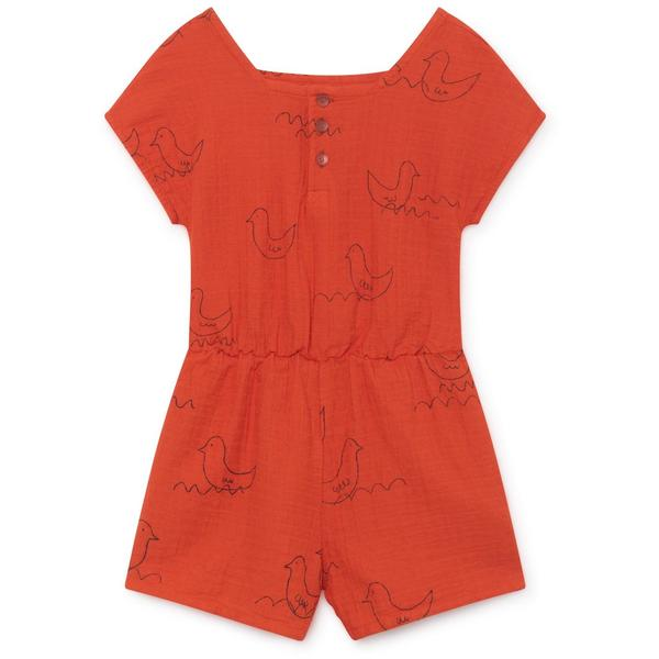 kids bobo choses geese sleeveless playsuit - red