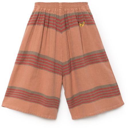 kids bobo choses stripes linen culotte pants - burn orange