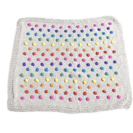 Kids Cabbages & Kings Hand Knit Rainbow Pom Blanket - Oatmeal