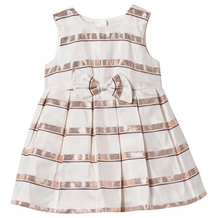 KIDS hucklebones sweetie stripe bodice dress & bloomers - ivory/rose gold
