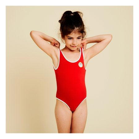 Kids Hundred Pieces Palm Smile Terry Cloth Swimsuit - Red
