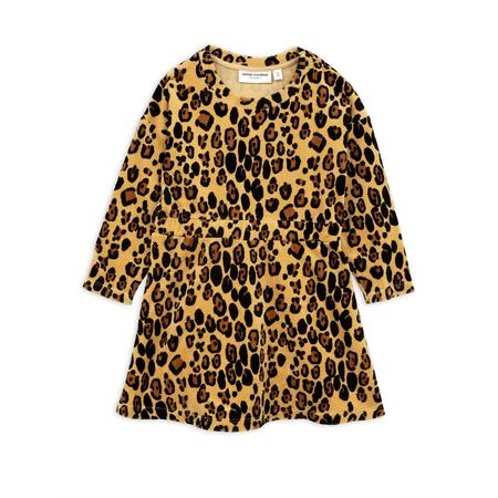 kids mini rodini leopard velour dress - beige