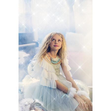 Kids Modern Queen Fanciful Feather Cuffs - White/Seafoam