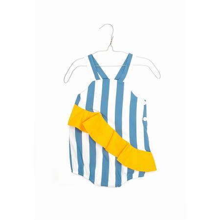 kids motoreta assymmetric ruffled baby bodysuit - blue
