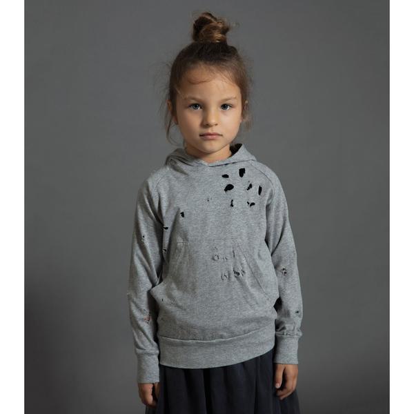 Kids Nununu Deconstructed Hoodie - Heather Grey