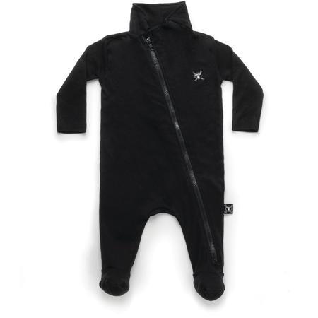 KIDS nununu diagonal zip footed overall - black