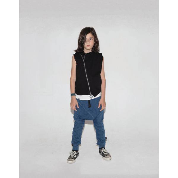 Kids Nununu Hooded Diagonal Vest - Black