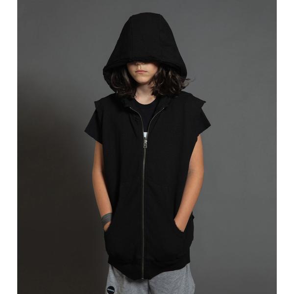 Kids Nununu Hooded Vest - Dyed Black