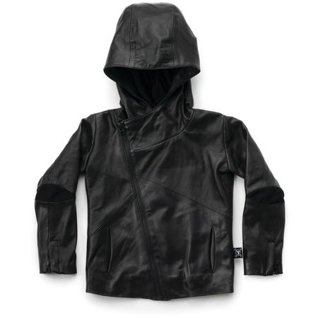 KIDS nununu leather jacket - black