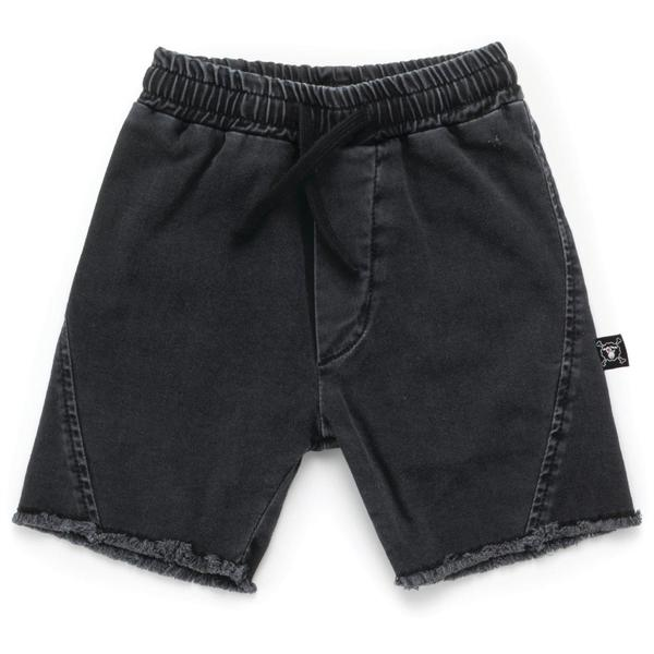 Kids Nununu Side Hem Denim Shorts - Washed Black