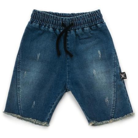 Kids Nununu Side Hem Denim Shorts - Washed Denim