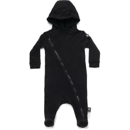KIDS nununu zip footed hooded overall - black