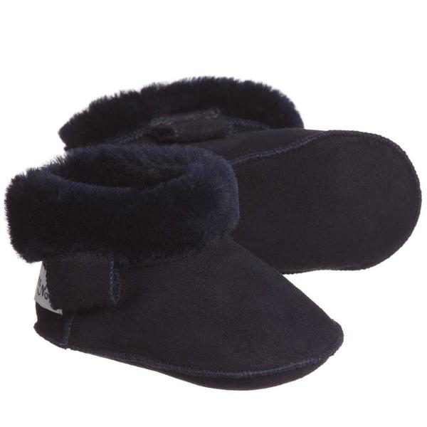 kids petit nord booties with velcro - navy
