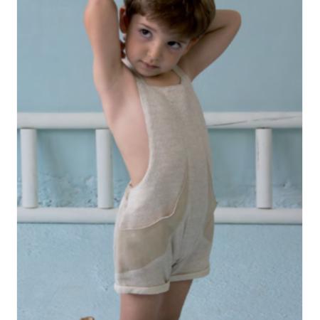kids unisex popelin fisherman's short dungarees - beige