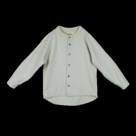 kids popelin striped raglan sleeve shirt - beige