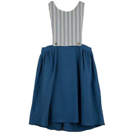 kids popelin removable and reversible bib dress - blue