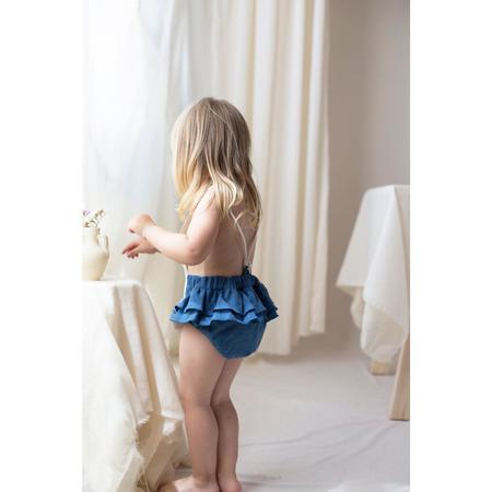 kids popelin romper with frill - blue