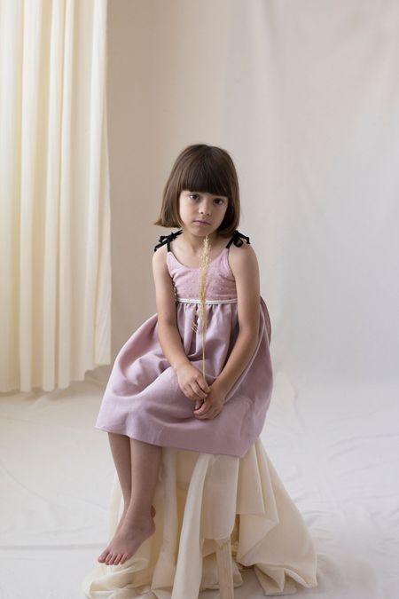 kids popelin reversible dress with straps - dusty pink