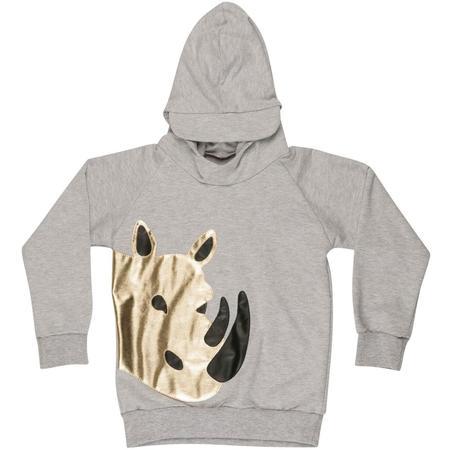 Kids wauw capow by bangbang copenhagen safari hoodie - grey melange