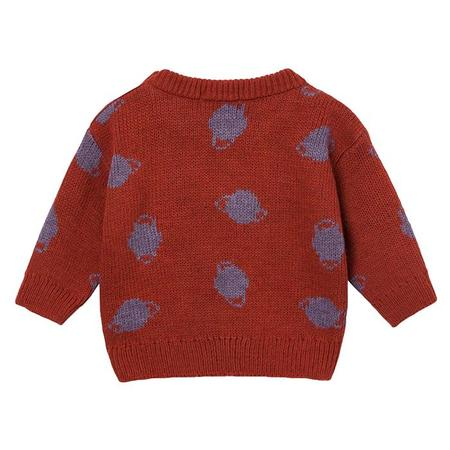 Kids Bobo Choses Baby Sweater With Jacquard Purple Saturn Pattern - Red