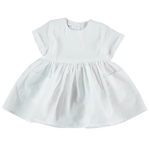 Kids Pequeno Tocon Baby Dress With Pockets - White