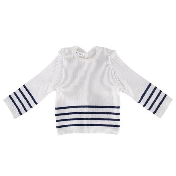 Kids Pequeno Tocon Baby Sweater - Cream/Navy Blue Stripes