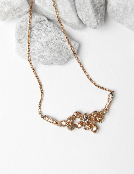 Jerry Grant Twelve Diamond Cluster Necklace - 14k Gold