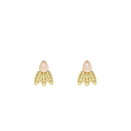 L'atelier Emma & Chloe Doriane Earrings - Gold/Rose Quartz