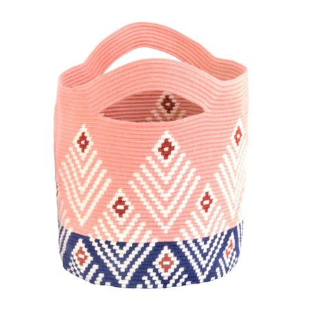 D.A.R. Projects Handmade Basket Large - Coral Pink/Ultramarine Blue
