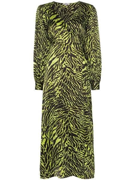 GANNI Silk Stretch Satin Dress - Lime Tiger