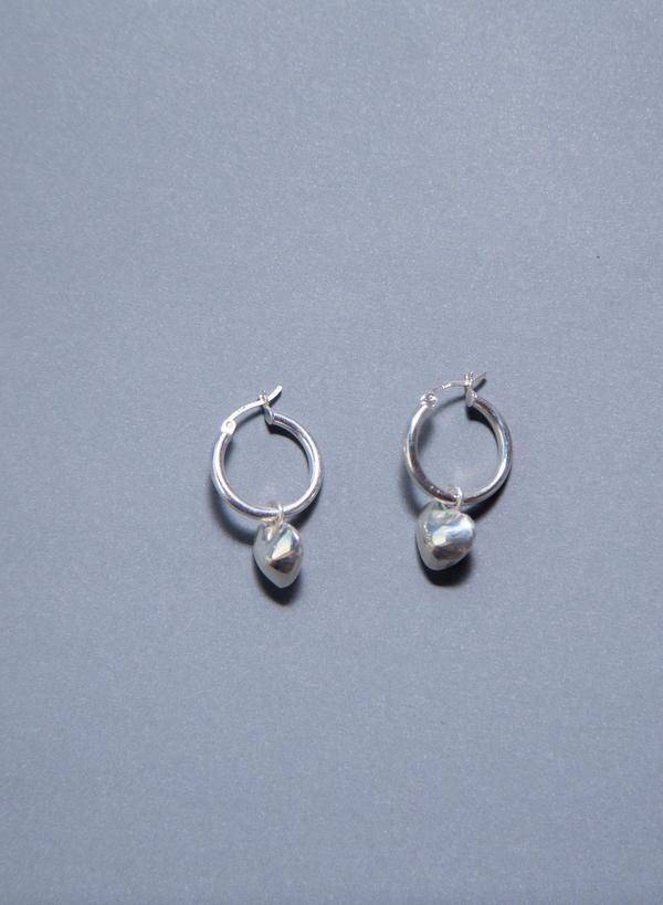 Tuza Full Heart Charm Earrings - Silver