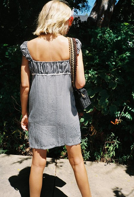Solid and Striped Cap Sleeve Dress - Gingham