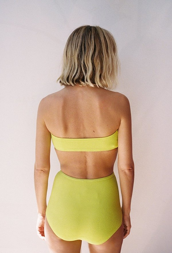 Solid and Striped Violet Top - Lime Squiggle