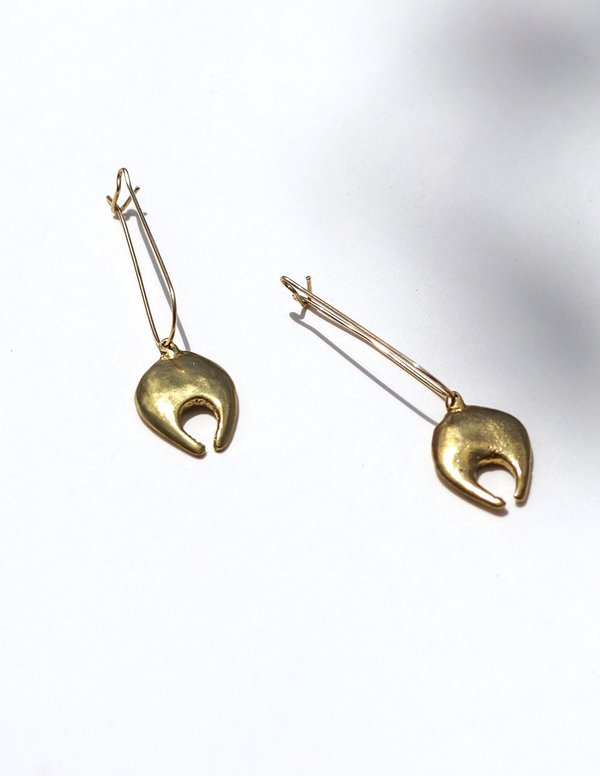 Cashmere Cactus Crescent Earrings - Gold Fill