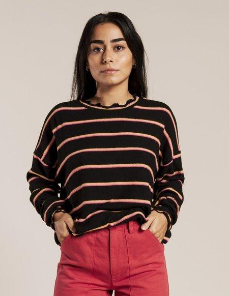 LnA Brushed Nora Top - Black Pink Stripe