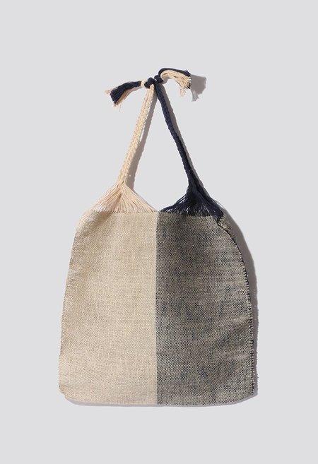 Marta Buda Woven Market Bag - Navy/Ivory
