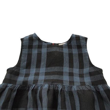 Kids Makié Makie Stella Sleeveless Dress - Dark Navy Blue Plaid